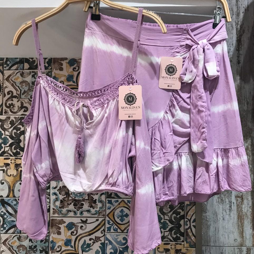 Falda Corta Tie Dye - Lila