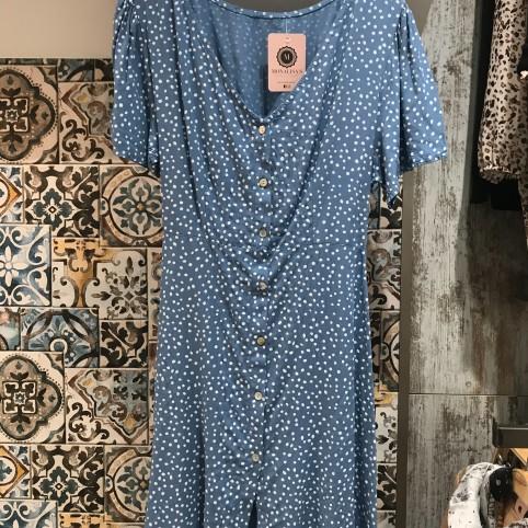 Vestido Topos Midi - Azul