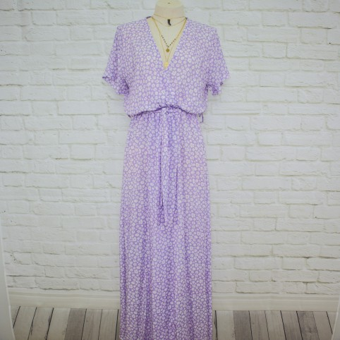 Vestido Semicruzado Flor Largo - lila
