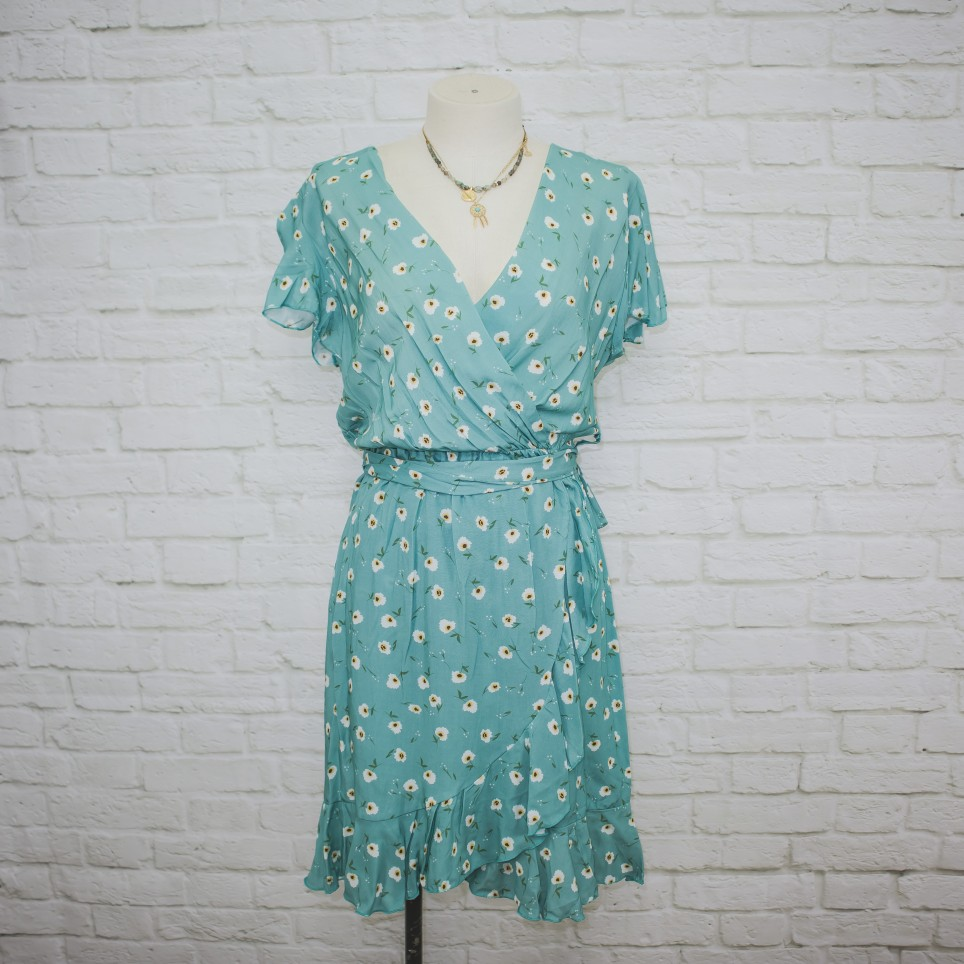 Vestido Semicruzado Girasol - Verde