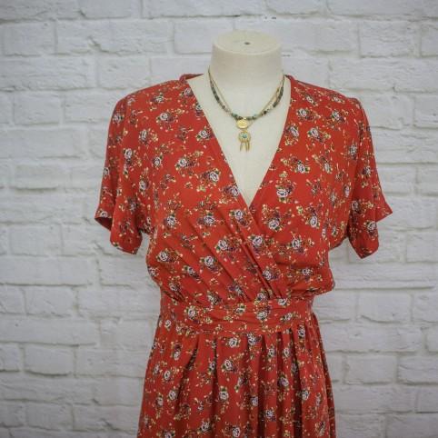 Vestido Semicruzado Rosas - Rojo