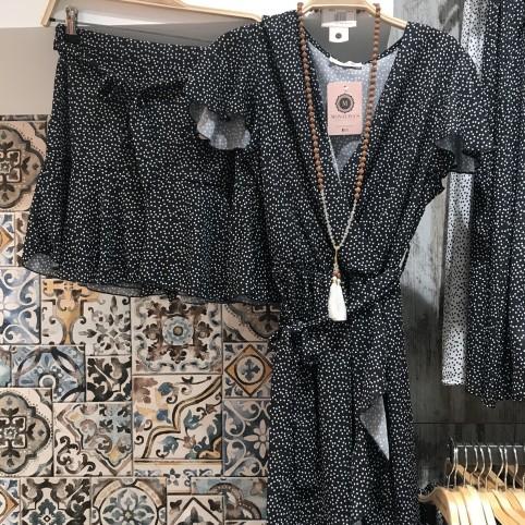 Vestido Semicruzado Topos - Negro
