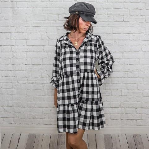 Vestido Cuadros Vichy -Negro