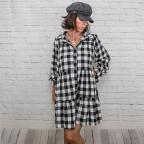 Vestido Blusón Cuadros  -Negro