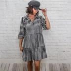 Vestido Blusón Vichy  -Negro