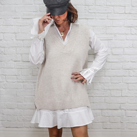 Chaleco Punto Oversize-Gris Oscuro