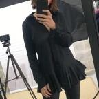 Maxi Camisa Falda Plisada -Negro