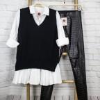 Maxi Camisa Falda Plisada -Blanco