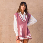 Chaleco Oversize College -Rosa
