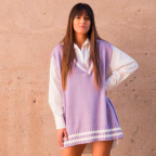 Chaleco Oversize College -Lila
