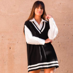 Chaleco Oversize College -Negro