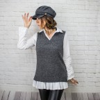 Chaleco Lana Oversize - Gris Oscuro