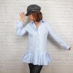 Maxi Camisa Falda Plisada -Azul celeste