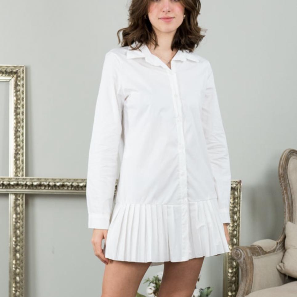 Vestido Falda Plisada - Blanco