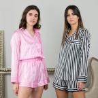 Pijama Satén Rayas -Rosa