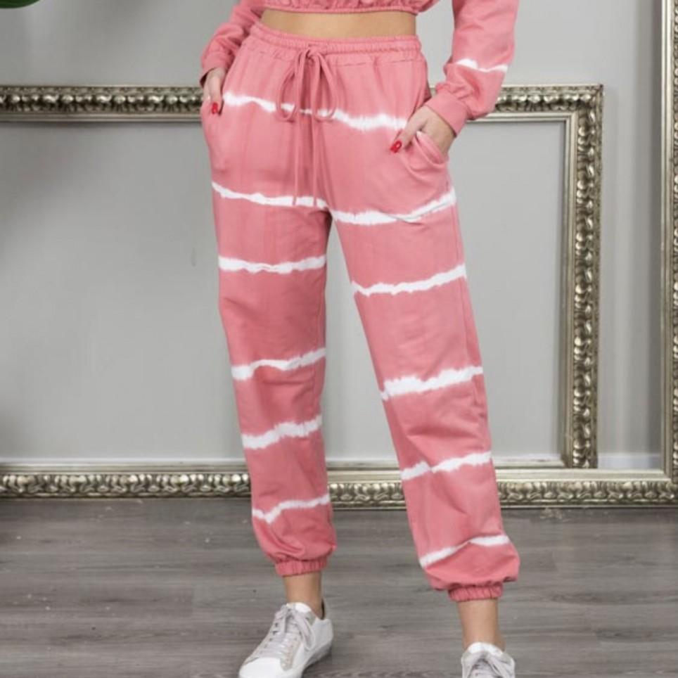 Pantalón chándal Tie Dye -Coral
