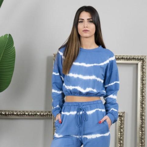 Sudadera Cropt Tie Dye - Azul