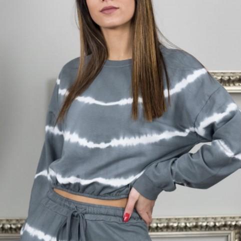 Sudadera Cropt Tie Dye - Gris Oscuro