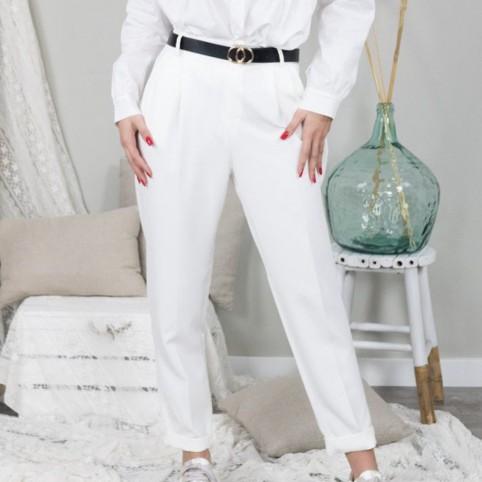 Pantalón Jogger con Cinturón-Blanco