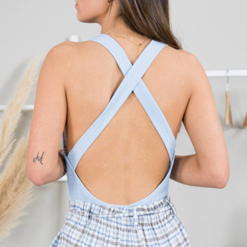Body Fruncido espalda X - Azul
