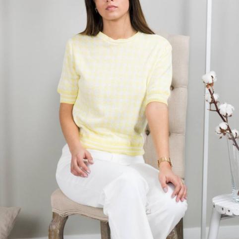 Camiseta Tricot Pata de Gallo - Amarillo