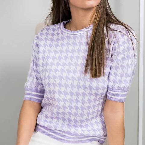 Camiseta Tricot Pata de Gallo - Lila