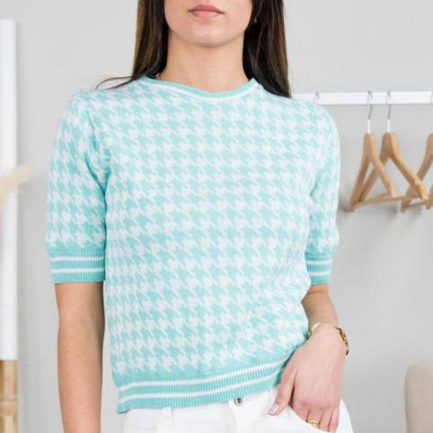 Camiseta Tricot Pata de Gallo - Verde