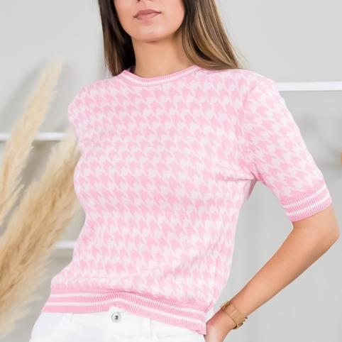 Camiseta Tricot Pata de Gallo - Rosa Chicle