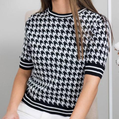 Camiseta Tricot Pata de Gallo - Negro