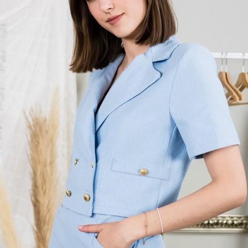 Blazzer cropped Tweed - Azul