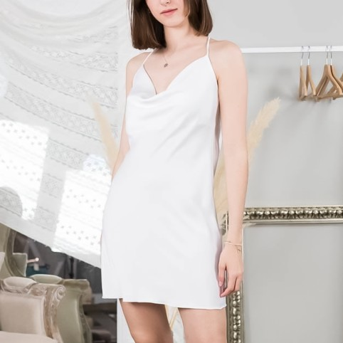 Vestido Satinado - Blanco