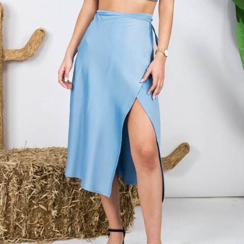 Falda Satinada - Azul