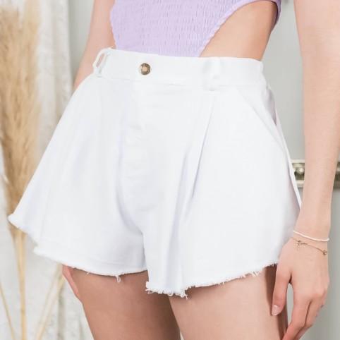 Short Denim Desfilado - Blanco