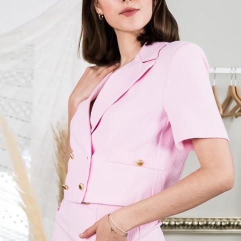 Blazzer cropped Tweed - Rosa