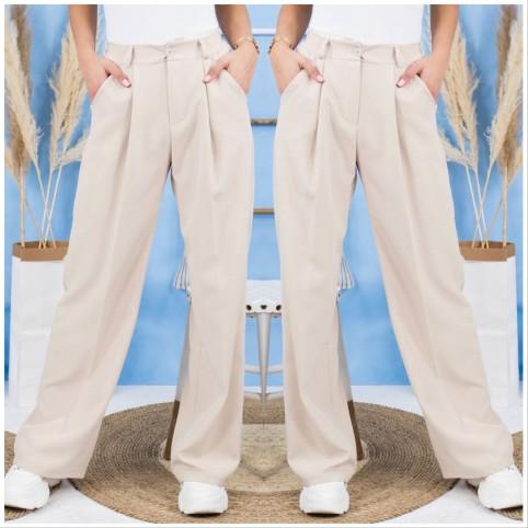 Pantalón traje Wide Leg - Beige