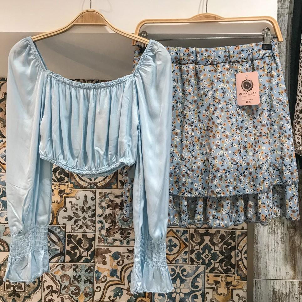 Falda Flores Corta - Azul