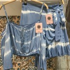 Top Cropt Manga Tie Dye - Azul