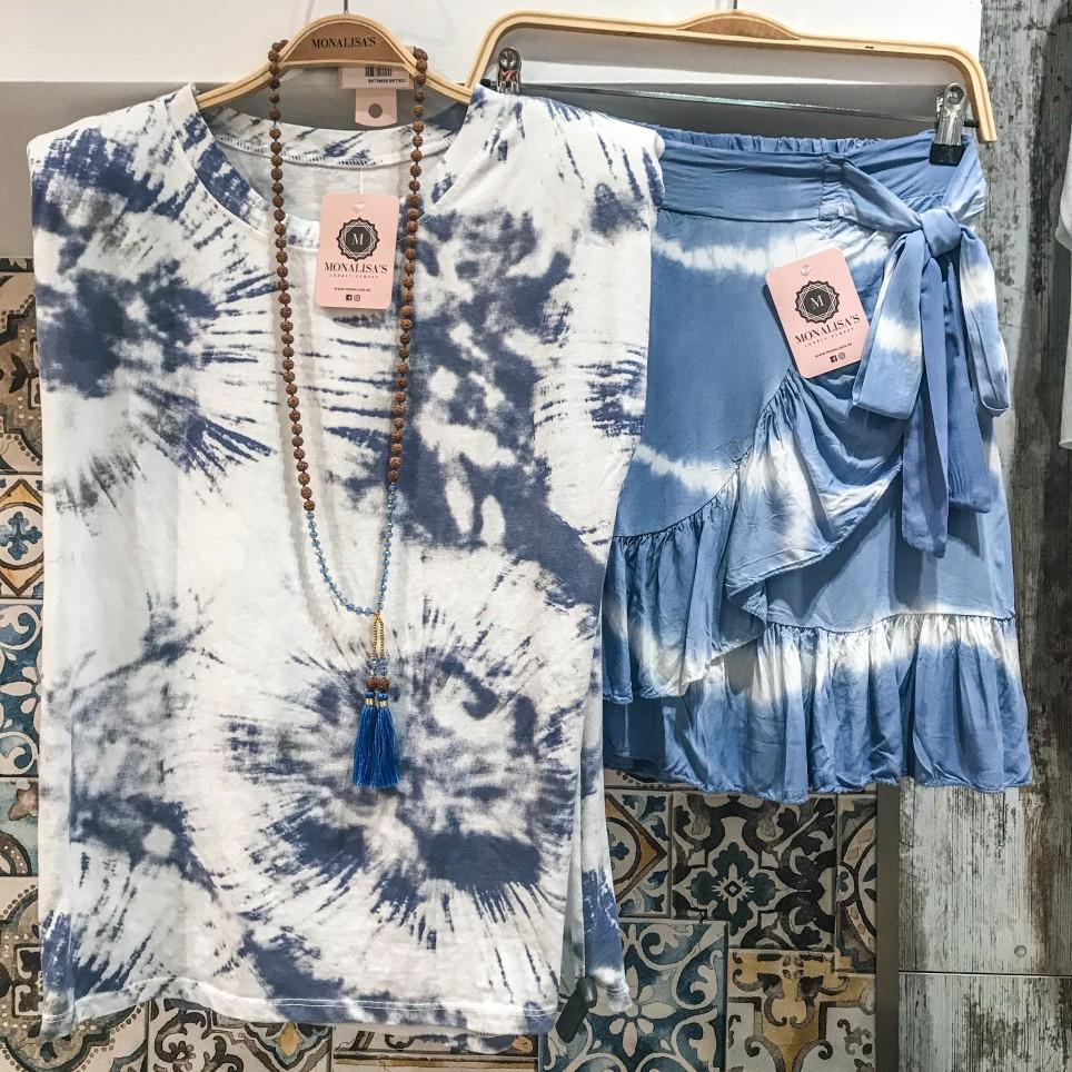Falda Corta Tie Dye - Azul